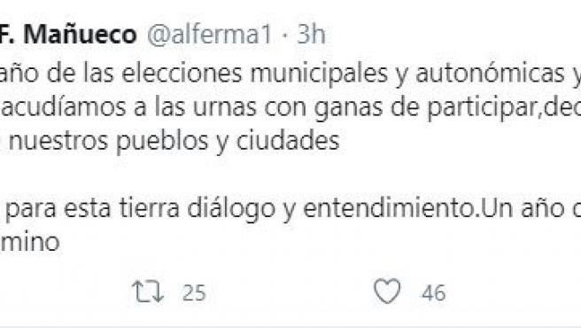 Tuit del presidente de la Junta de Castilla y León, Alfonso Fernández Mañueco, el día en el que se cumple un año de las Elecciones Municipales de 2019.