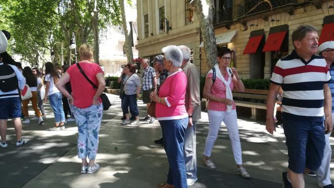 Turistas paseando por el centro de Palma, en una imagen de 2018.
