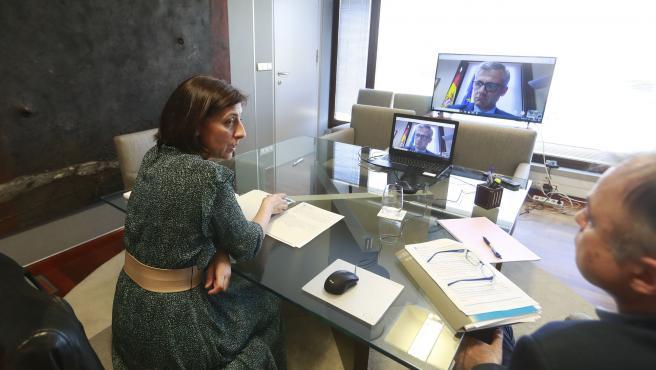 A conselleira de Medio Ambiente, Territorio e Vivenda, Ángeles Vázquez, reúnese por videoconferencia co secretario xeral de Axenda Urbana e Vivenda do Ministerio de Transportes, Mobilidade e Axenda Urbana, David Lucas Parrón.
