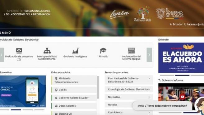 El chatbot 'Carina' o 'Catalina' en una pàgina web.