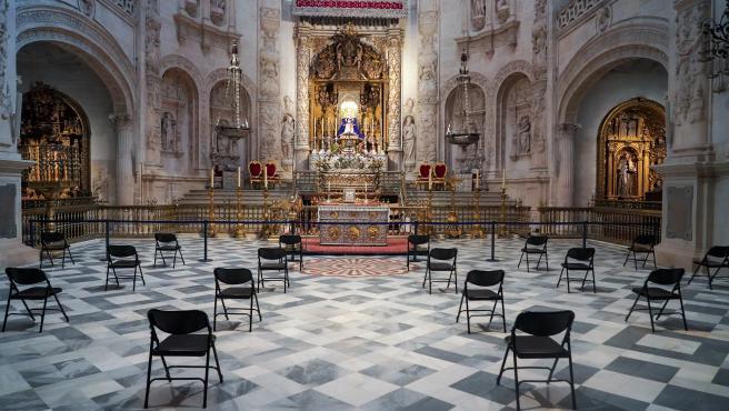 Capilla de la Virgen de los Reyes el primer día de la fase 1 por la pandemia del coronavirus. Sevilla a 11 de mayo del 2020