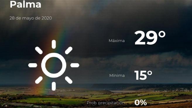 El tiempo en Baleares: previsión para hoy jueves 28 de mayo de 2020