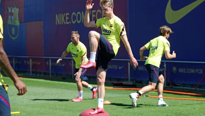 Frenkie de Jong, durante un entrenamiento del FC Barcelona.