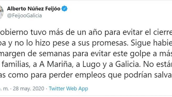 Tuit de Feijóo tras el anuncio de Alcoa de despido colectivo en San Cibrao