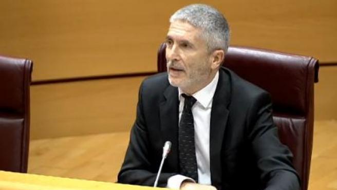 El ministro del Interior, Fernando Grande-Marlaska, durante su comparecencia en el Senado