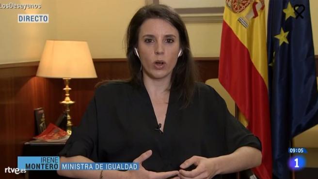 La ministra de Igualdad, Irene Montero, entrevistada en TVE.