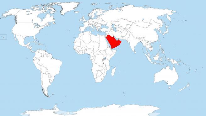 Los países que no tienen río señalados en rojo.