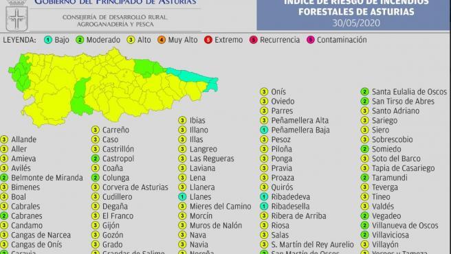 La mayoría del territorio asturiano estará este sábado en riesgo 'alto' de incendio