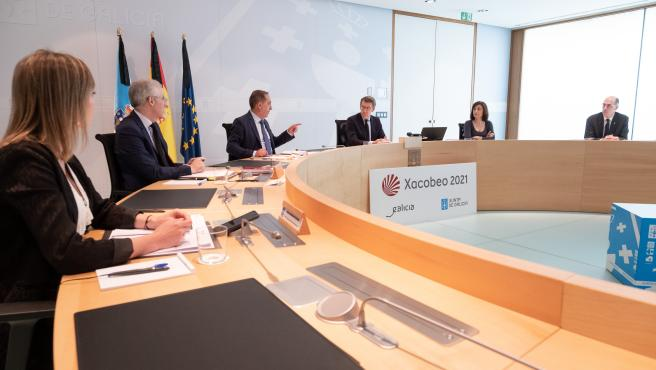 O titular do Goberno galego, Alberto Núñez Feijóo, preside a reunión do Consello da Xunta. San Caetano, Santiago de Compostela, 29/05/20.