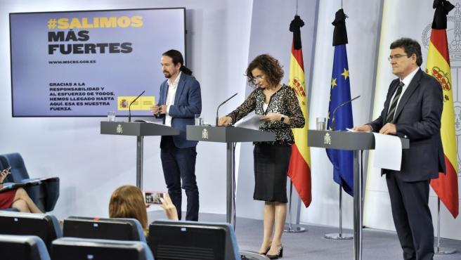 El vicepresidente Iglesias y los ministros Montero y Escrivá.