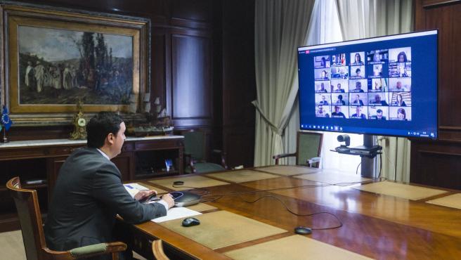 Pleno ordinario Diputación de Almería telemático. Presidente, Gimenez, Liria. Teletrabajo.