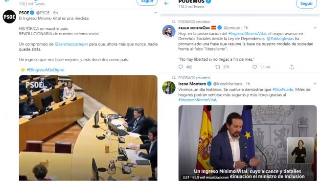 Timeline de Twitter de PSOE y Podemos tras la aprobación del IMV