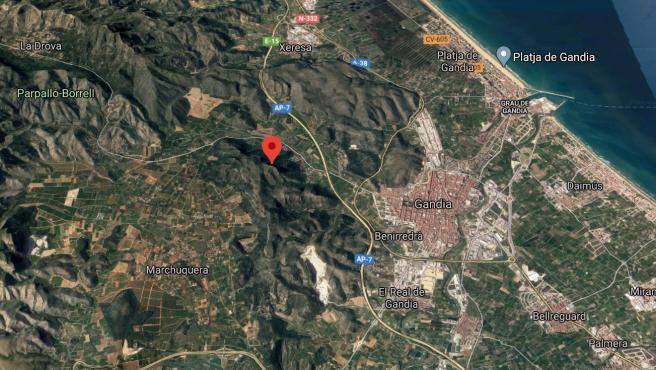 Localización del Molló de la Creu, en Gandia