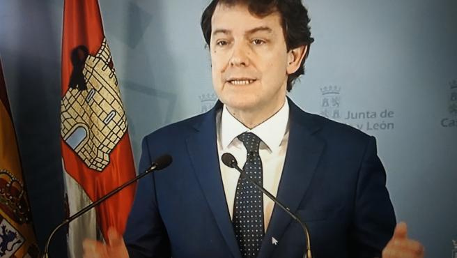 Alfonso Fernández Mañueco, durante su comparecencia tras la videoconferencia con Pedro Sánchez.