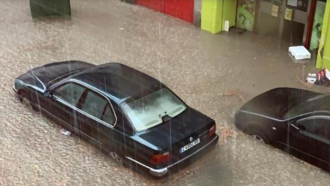 Imagen de la tormenta caída este domingo en Calatayud.