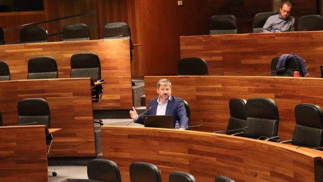 El diputado de Ciudadanos, Sergio García, durante una intervención en el Parlamento.
