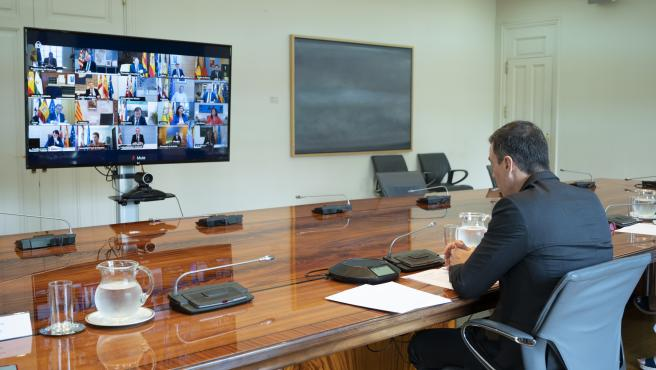 El presidente del Gobierno, Pedro Sánchez, se reúne con los presidentes autonómicos por videconferencia, en Madrid (España) a 31 de mayo de 2020.