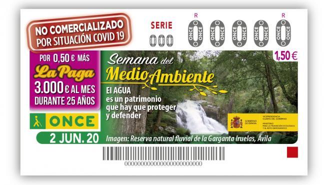 Cupón de la ONCE dedicado a la Reserva Natural Garganta Iruelas.