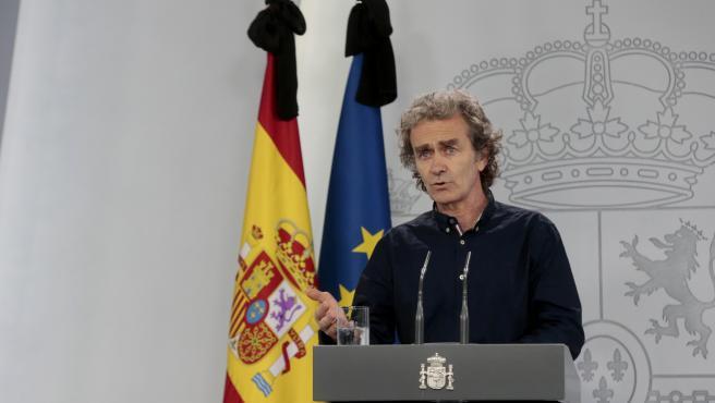 El director del Centro de Coordinación de Alertas y Emergencias Sanitarias, Fernando Simón, comparece en rueda de prensa para informar sobre las novedades del Covid-19. En Madrid, (España), a 27 de mayo de 2020.