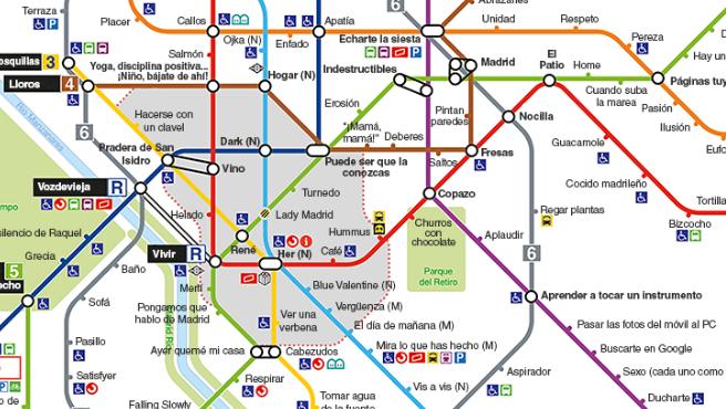 Plano del 'Metro de confinamiento' basado en las líneas de Madrid.