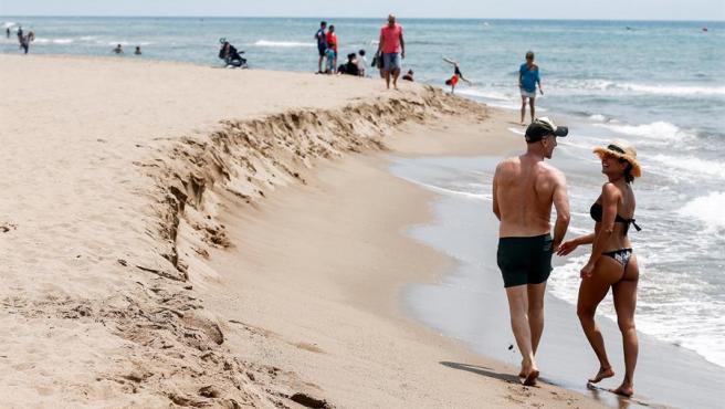 La playa de Castelldefels durante la fase 1.