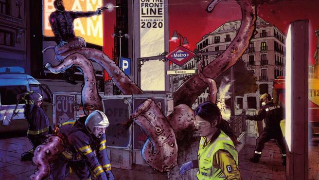 Luis F. Sanz representa a los cuerpos de seguridad y emergencia combatiendo contra el virus en 'eme21magazine'.