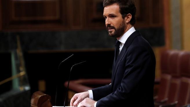 El líder del PP, Pablo Casado, interviene durante el pleno del Congreso