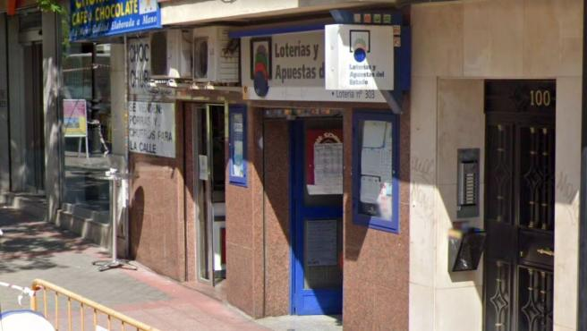 Imagen del exterior de la administración de Loterías número 303 de Madrid.