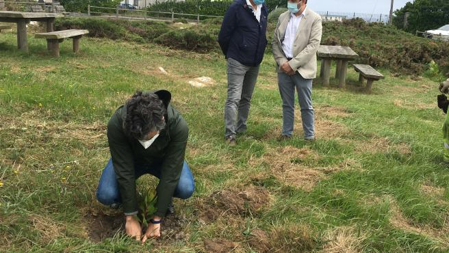 El Consejero De Desarrollo Rural, Agroganadería Y Pesca, Alejandro Calvo, Planta Un Árbol En El Paisaje Protegido De Cabo Peñas.