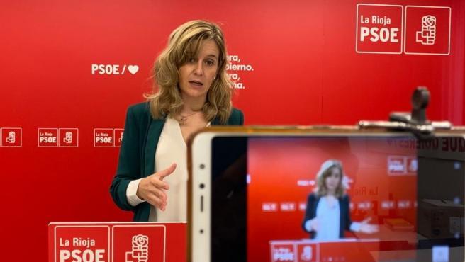 La portavoz adjunta del GPS, Sara Orradre, en comparecencia de prensa