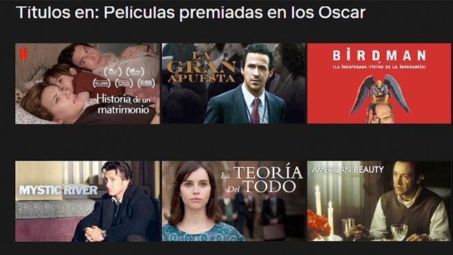 Sólo con poner 'películas premiadas en los Oscar', Netflix te mostrará un extenso listado