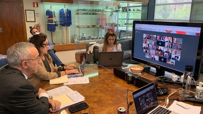 El presidente del COE, Alejandro Blanco, preside la reunión telemática del Comité Ejecutivo de dicho organismo con el ministro de Cultura y Deporte, José Manuel Rodríguez Uribes