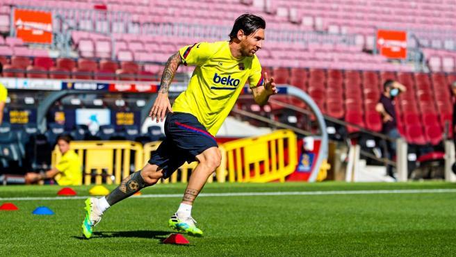 Messi, en un entrenamiento en el Camp Nou