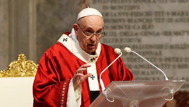 El papa Francisco durante la misa de Pentecostés.