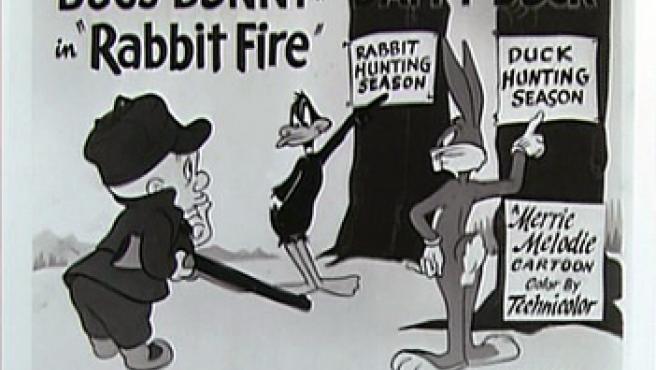 Elmer Gruñón, Bugs Bunny y el Pato Lucas en una viñeta antigua.