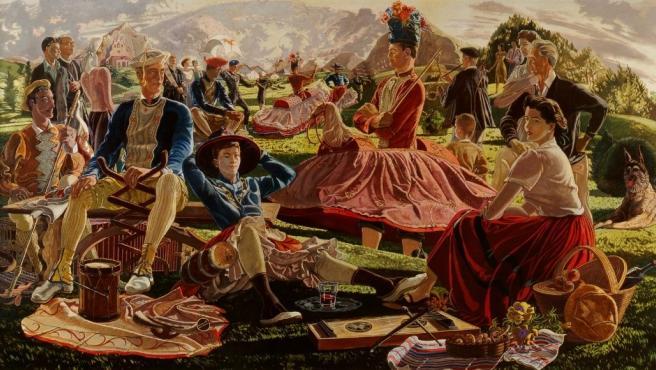 Pintura 'Danzas suletinas' de JM Ucelay