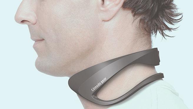 El aire acondicionado portátil de Fujitsu se adapta al cuello de la persona