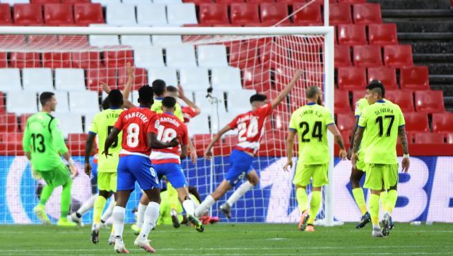 Los jugadores del Granada celebran uno de los tantos de Carlos Fernández.