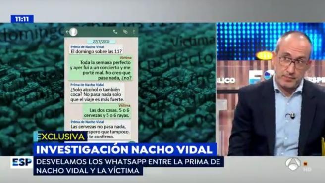 Antena 3 enseña mensajes de WhatsApp de la prima de Nacho Vidal y la víctima.