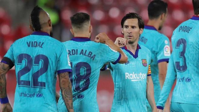 El Barça celebra uno de sus goles ante el Mallorca.