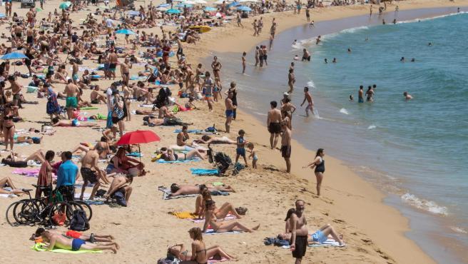 La playa de Nova Icària, este sábado