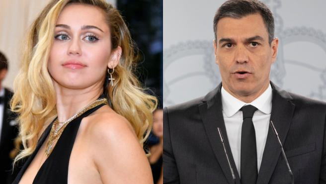 Pedro Sánchez responde a Miley Cyrus an Twitter.