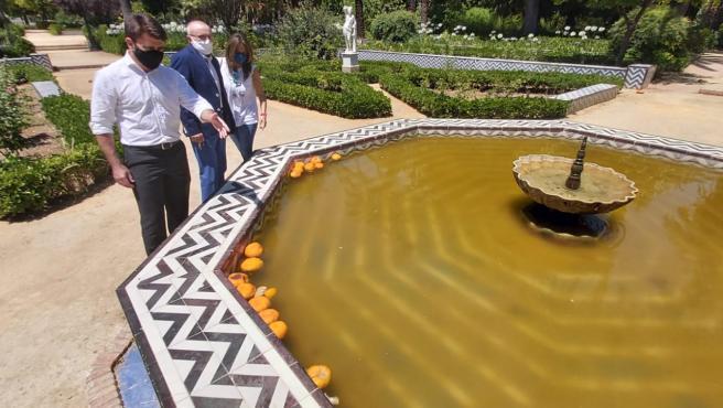 El portavoz del PP en el Ayuntamiento de Sevilla, Beltrán Pérez, señala la suciedad de una fuente del Parque de Maria Luisa.