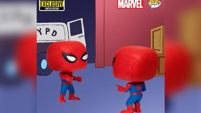 Versión Funko Pop del meme 'Spider-man señalando a Spider-man'.