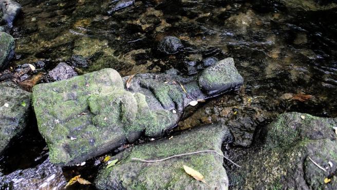 Virgen de piedra encontrada en el río Sar.