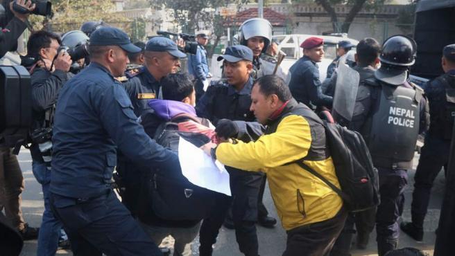 Protesta en Nepal por los derechos humanos.
