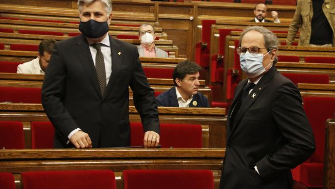 El president de la Generalitat, Quim Torra, en la sesión de control del Parlament de este miércoles.