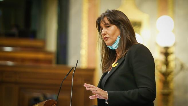 La portavoz de JxCat, Laura Borràs, durante una intervención en el Congreso.
