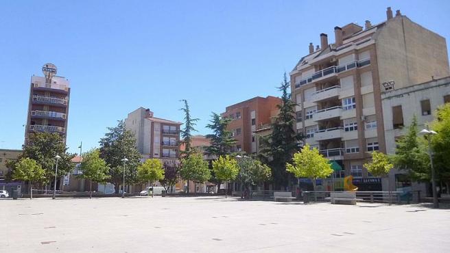 Imagen de la plaza de España de Binéfar (Huesca).