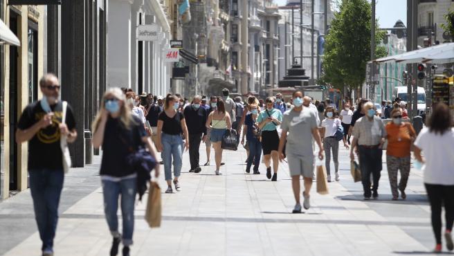 Imagen de la Gran Vía madrileña esta semana.